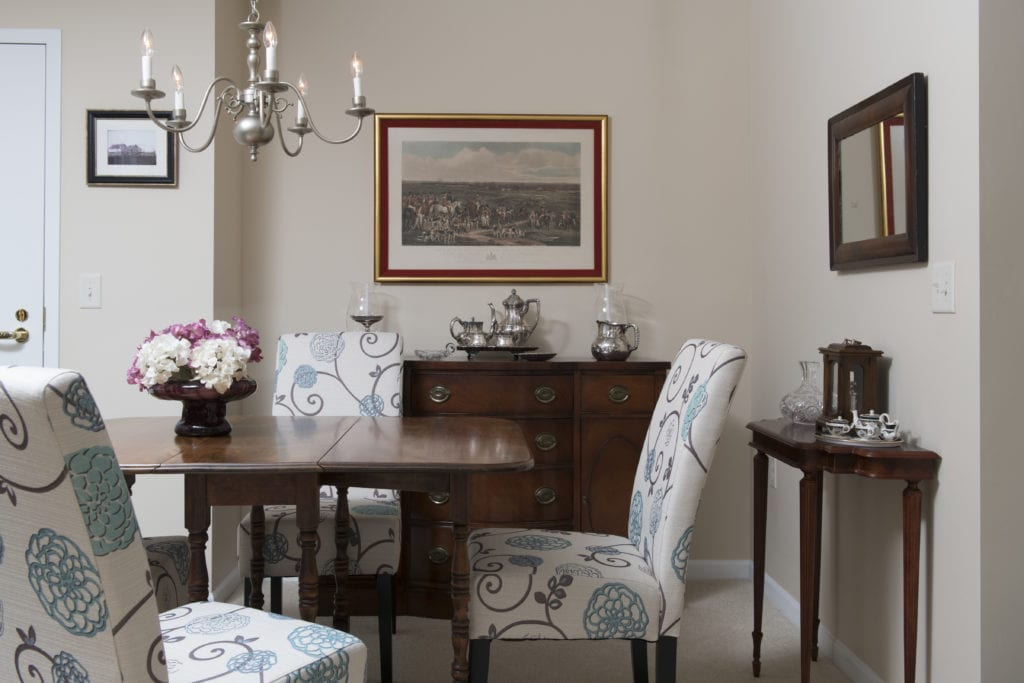 Dining room with decorative chairs