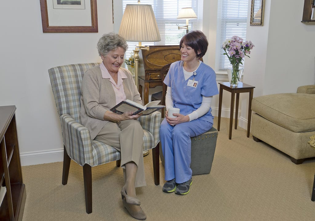 Brethren Village retirement resident with a nurse