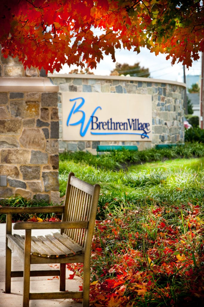 Welcome sign at Brethren Village retirement