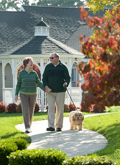 Walking the dog at Calvary Homes