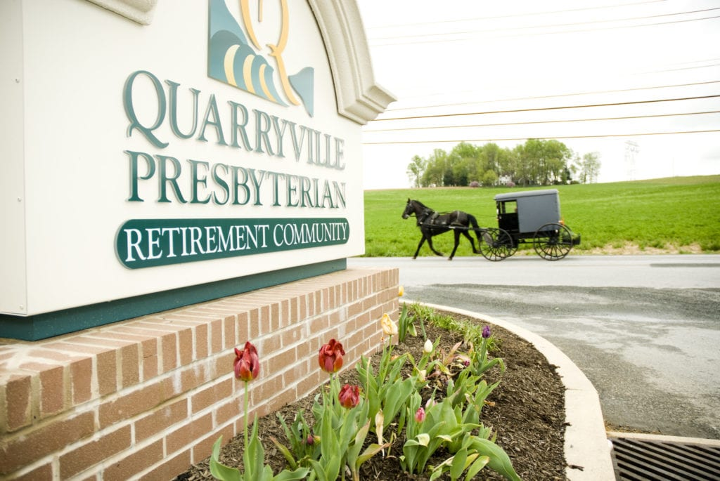 Quarryville Presbyterian retirement community welcome sign