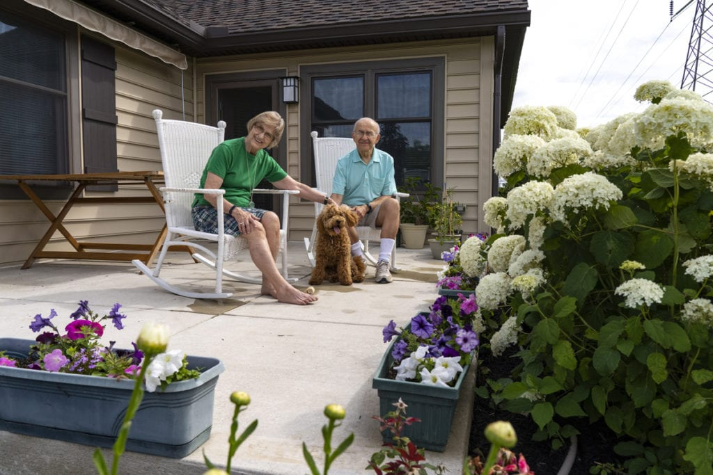 Senior couple with dog at Landis Homes
